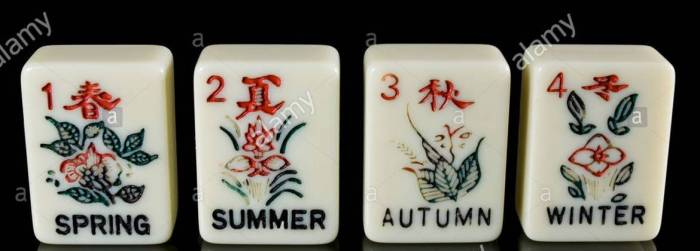 hand-painted-seasons-tiles-in-the-ancient-chinese-game-of-mahjong-BAYKHG