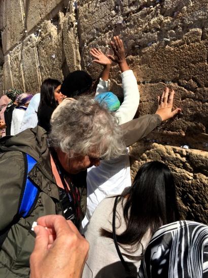 Lawrene at wall of prayer