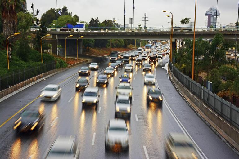 Ayalon winter traffic Blurred motion, Israel