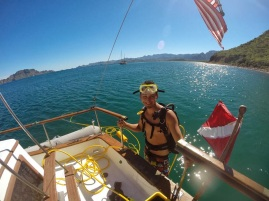 Eric dipping into the Sea of Cortez 2013