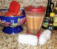 Blend 1.5 cups broth with tomatoe, pepper, garlic