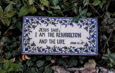 Plaque near the tomb of Jesus